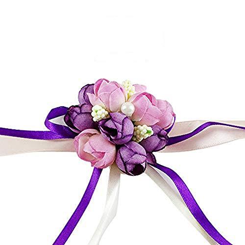 Wedding Wrist Flower Hand Flower Wristband Corsage for Wedding/Party/Prom/Children Dance Show, Pack of 4 (Purple)