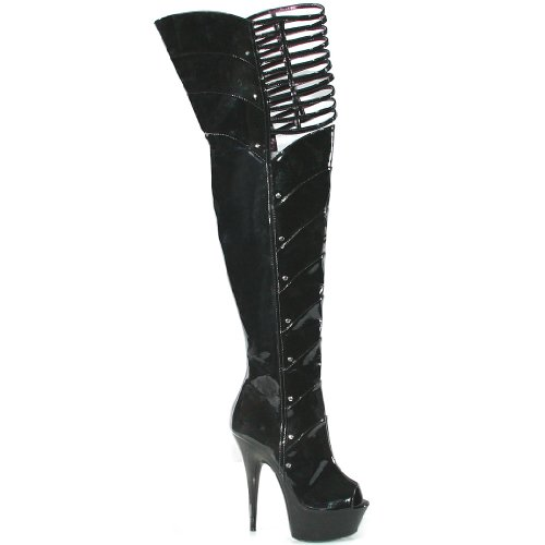 Peep Outs Thigh Women's 6 With Black;5 Cut Knee High Inch Toe q76EUxF