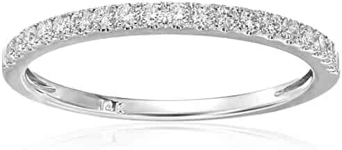 14k White Gold Round Diamond Micro-Pave Wedding Band (1/4cttw, H-I Color, VS2-SI1 Clarity)