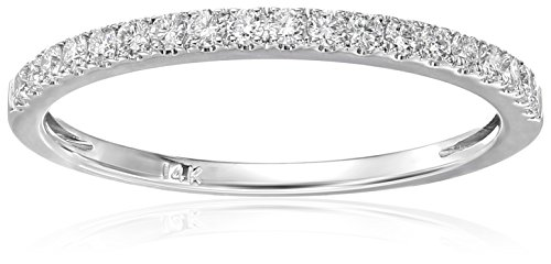 14k White Gold Round Diamond Micro-Pave Bridal Wedding Band Ring (1/4 Cttw, H-I, VS2-SI1)