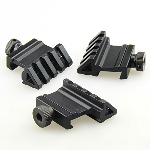 (TACFUN 3 PCS Tactical 45 Degree Angle Offset 20mm Weaver Rail Mount Picatinny 4 Slot)