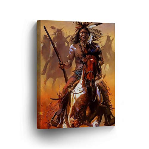 (SmileArtDesign Indian Wall Art Native Americans Riding Horses with Guns Canvas Print Home Decor Decorative Artwork Gallery Wrapped Wood Stretched and Ready to Hang -%100 Handmade in The USA - 12x8)