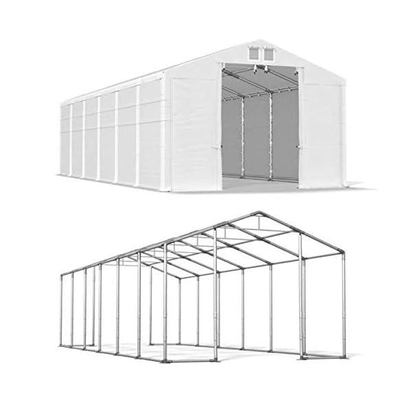 Das Company Tendone Deposito 8x12x4m Tendone Bianco Impermeabile 560g/m² Tenda da stoccaggio Rinforzo dell'Ingresso… 4 spesavip