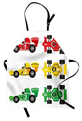 (Lunarable Nursery Apron, Cars at Start Line Background Winner Race Drivers Competition Design, Unisex Kitchen Bib Apron with Adjustable Neck for Cooking Baking Gardening, Fern Green Yellow and Red)