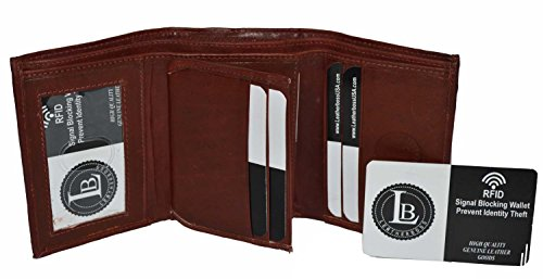 Classic Leather Classic Wallet - RFID Blocking Men's Leather Classic Trifold Wallet by Leatherboss (Burgundy)