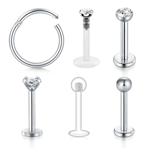 Briana Williams Cartilage Tragus Earrings-16G 2.5mm 3mm CZ Stainless Steel Internally Threaded Labret Monroe Medusa Lip Ring Rook Helix Earring Stud Barbell Piercing Jewelry 8mm -
