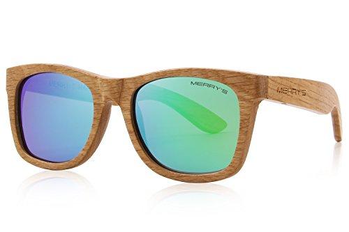 MERRY'S Men Wooden Polarized Sunglasses 100% UV Protection vintage Eyewear S5140 (Green, 51)
