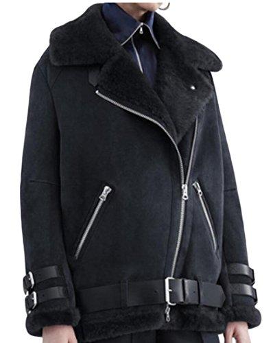 Outwear 2 Wool Suede Coat amp;S Women's M Biker Fleece amp;W Winter Jacket xgOOCY