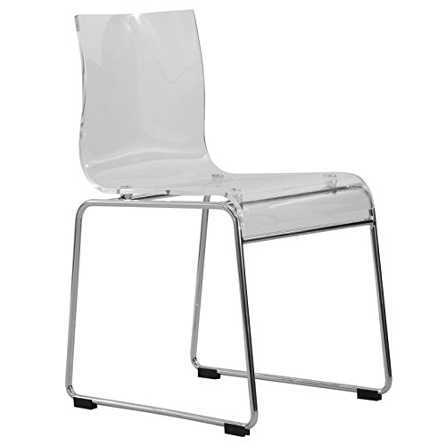 LeisureMod Walker Mid-Century Acrylic Dining Chair with Chrome Base in Clear Review