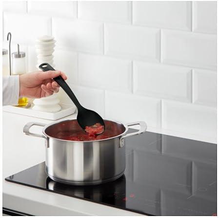 _ IKEA – juego de utensilios de cocina. Negro pinzas de cocina, cuchara y Turner. Suave para ollas y sartenes con revestimiento antiadherente y apto para lavavajillas.: Amazon.es: Hogar
