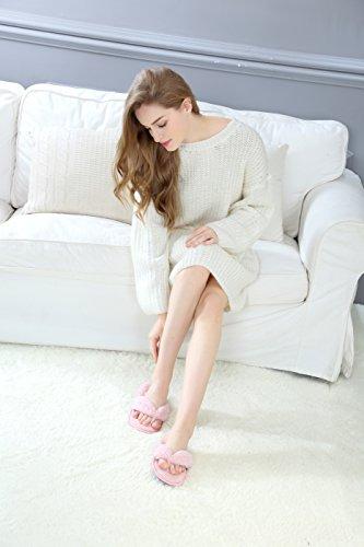Onmygogo Plysj Innendørs Flip Flop Tøfler Til Kvinner, Doble Farge Fleece Tøfler Med Brede Stropper Røde