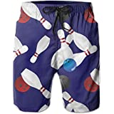 PTYHR Mens Quick Dry Beach Shorts, Bowling Ball Swim Trunks, Swim Surfing, Elastic Waist Drawstring Board Shorts, Summer Shorts Wear