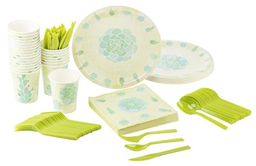 Disposable Dinnerware Set - Serves 24 - Succulent Party Supplies for Picnics, Outdoor Party, Bridal Shower - Includes Plastic Knives, Spoons, Forks, Paper Plates, Napkins, Cups