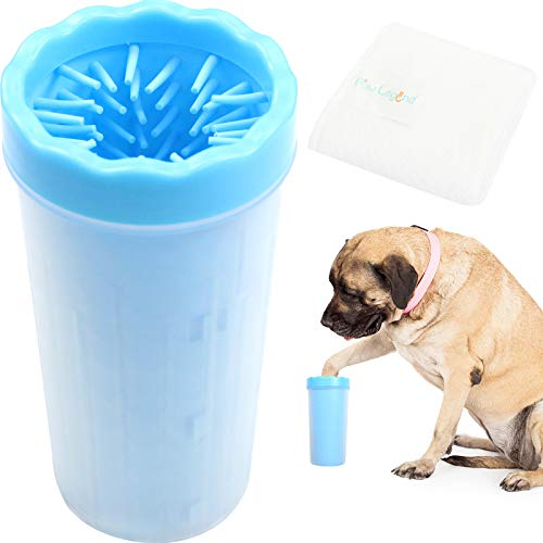 Paw Legend Portable Dog Paw Washer with Towel – Pet Paw Cleaner for Dogs,Cats Grooming with Muddy Paws – Comfortable Silicone Dog Feet Cleaner(Blue, XL)
