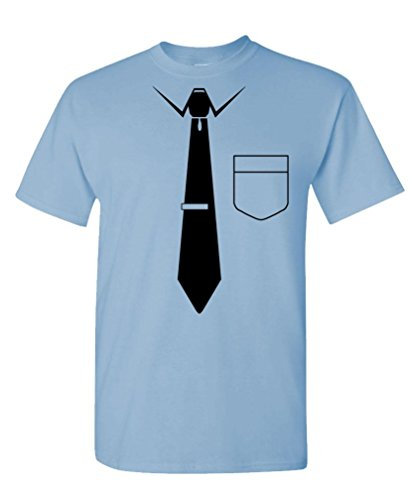 Necktie - Funny Nerd Gag Joke Party Neck tie Tee Shirt T-Shirt, L, Lt Blue