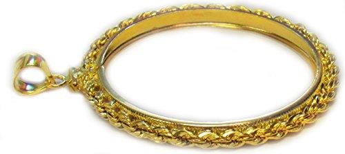 (Flintski Jewelry 1 oz Panda 1/20th 14k Gold Filled Rope Coin Bezel Frame Mount (Years Before 2001))