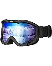 OMORC Ski Goggles Adult UV400 Protection Anti-fog OTG Over Glass,Snowboard Goggles Dual-layer Lens Ventilation System for Skiing, Skating, Motocross