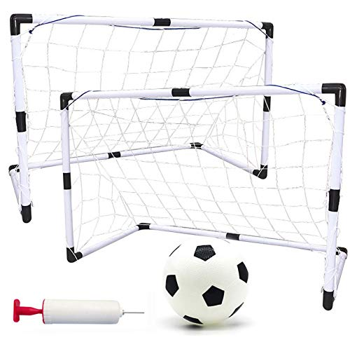 Fine 2-in-1 Assembly Soccer Goal, Portable Folding Kids Sports Football Door Set Football Gate with Soccer Ball and Pump Practice Scrimmage Game (White)