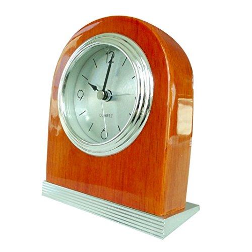 YUSOUND Non-ticking Door-shape Wooden Table Digital Alarm Clock, Black/Red/Orange (Chelsea Alarm Clock)