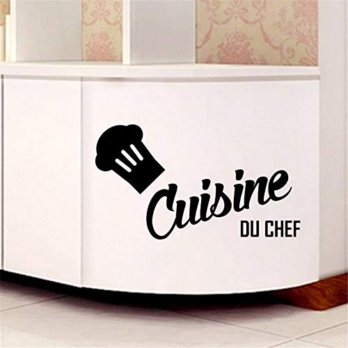 handas Removable Vinyl Mural Decal Quotes Art Cuisine Du Chef for Kitchen Dining Room Coffee Shop