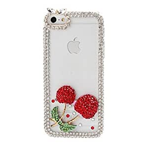 DIY Cherry and Chain Frame with Rhinestone Pattern Plastic Hard Case for iPhone 5/5S