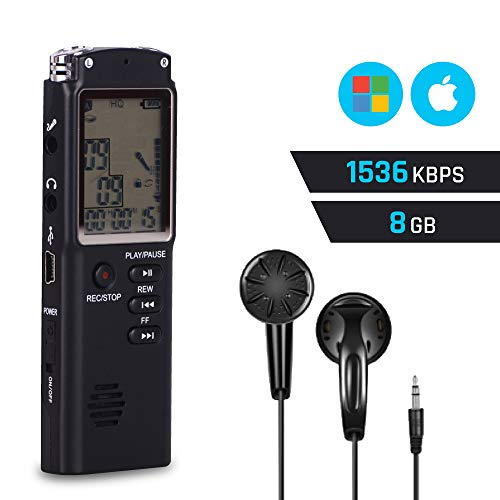 Jaytekk Digital Voice Activated Audio Recorder - Portable Recording Device, Rechargeable Tape Recorder, Dual Microphone Dictaphone - Perfect for Lectures Interviews Meetings - Mac Windows Compatible