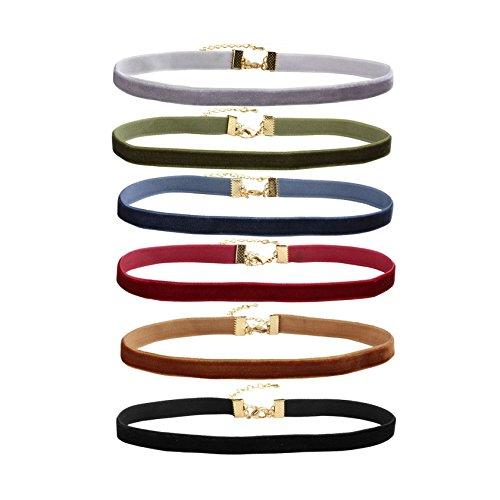 (MILAKOO 6 Pcs Velvet Choker Necklaces for Women Girls Tattoo Collar Lace Choker Adjustable)