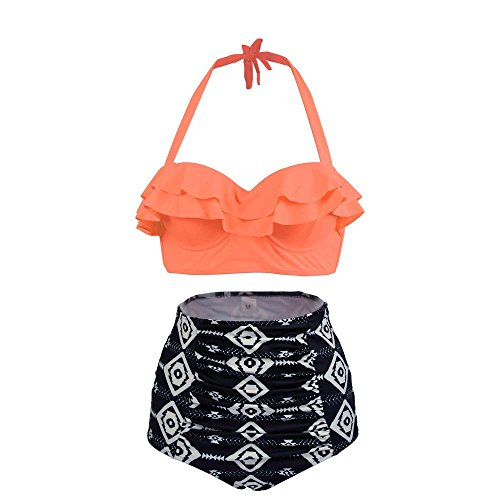 Full Coverage Suit - High Waisted Bikini Set, Vintage Falbala Two Piece Swimsuits for Women Halter Cute Bathing Suit Orange Size 6