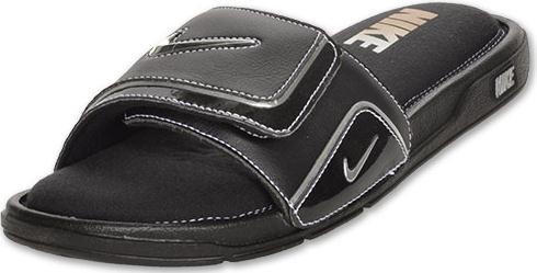 Nike Mens Comfort Slide 2 Sandal (12, Black/Metallic Silver/White)