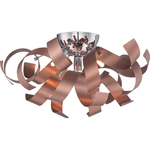 Copper Light Fixture - Quoizel RBN1616SG 4-Light Ribbons Flush Mount in Satin Copper