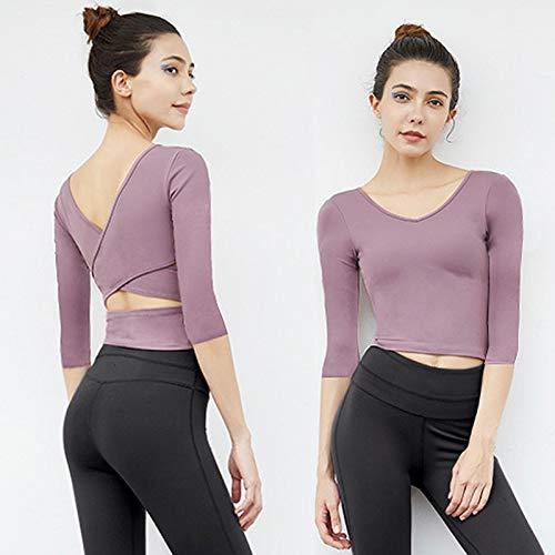 Amazon.com: Women Yoga Top Shirts Padded Sport Shirts Cross ...