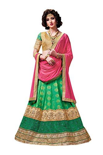 PCC Womens Green Striking Lehenga Choli With Crystals Stones Lace Work 84033