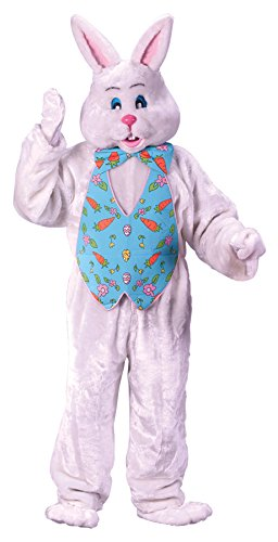 Scary Easter Bunny Costumes (UHC Easter Bunny Plush Jumpsuit Deluxe Mascot Style Head Holiday Fancy Costume, OS)