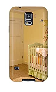 New Premium Flip Case Cover Pink And Green Baby Nursery With Mural Skin Case For Galaxy S5
