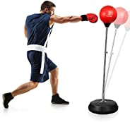 Punching Bag with Stand for Adults Kids, Dprodo Adjustable Speed Reflex Training Bag Plus Boxing Gloves, Worko