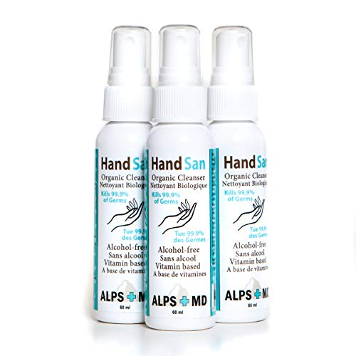 Natural Hand Sanitizer Spray - 3-Pack HandSan Organic Hand Cleanser (3 x 60 mL) - No-Alcohol Antimicrobial Hand Sanitizer Spray With Vitamins & Moisturizing Nutrients - All-Natural Kid-Safe Formula - Kills 99.9% Of Germs