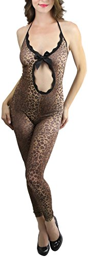 ToBeInStyle Women's Front Oval Cut Out Leopard Footless Bodystocking - LEOPARD -