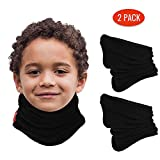 aegend 2 Pack Fleece Neck Warmer for Kids (Age 4-12), Double-Layer Soft Thermal Neck Gaiters, Black