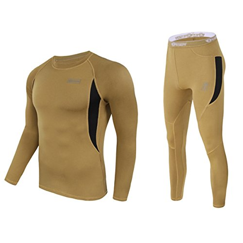 UNIQUEBELLA Men's Thermal Underwear Sets Top & Long Johns Fleece Sweat Quick Drying Thermo (XL, Brown) Heavyweight Long Underwear Tops