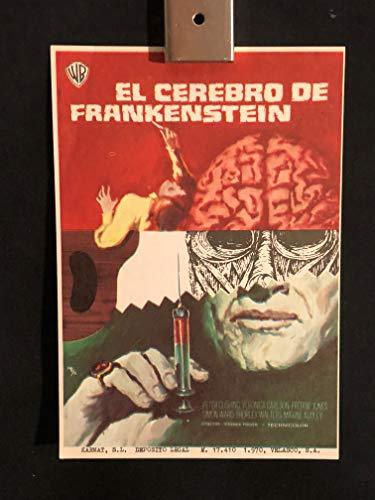 Frankenstein Must Be Destroyed 1969 Original Vintage Spanish Herald Program Movie Poster, Hammer, Peter Cushing, Horror, Frankenstein, Monster