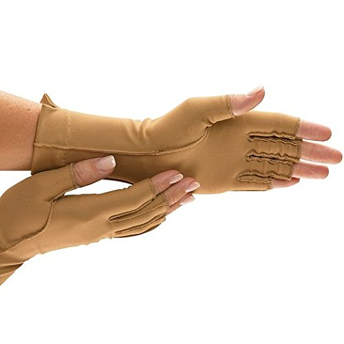 Isotoner Therapeutic Gloves - ISOTONER Fingerless Therapeutic Gloves XS Camel Style A25830