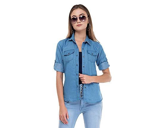 Shabana Creation Women Double Pocket Denim Shirt  Light Blue