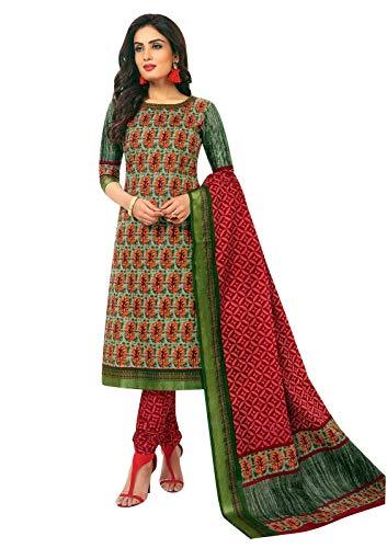 Ladyline Cotton Garhwal Border Salwar Kameez Ethnic Printed Indian Casual Dress (Size_36/ Light Green)