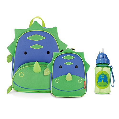 Skip Hop Zoo Backpack, Lunchie, and Bottle Set, Dinosaur