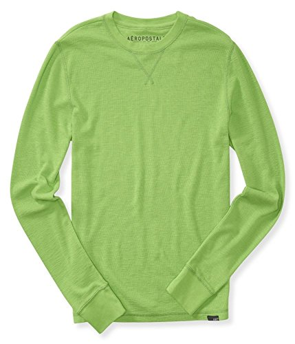 Aeropostale Mens Solid Thermal Sweater, Green, X-Small ()