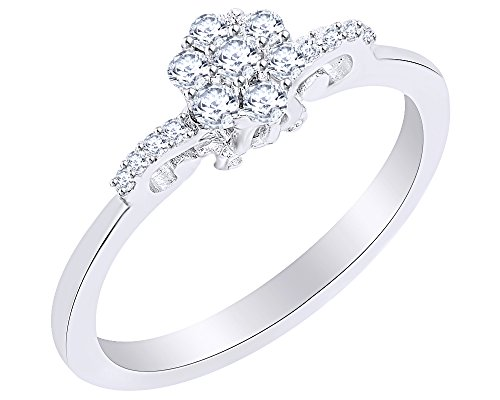(1/4 Ct Diamond Cinderella Carriage Cluster Bow Ring in 14K White Gold Over Sterling Silver)