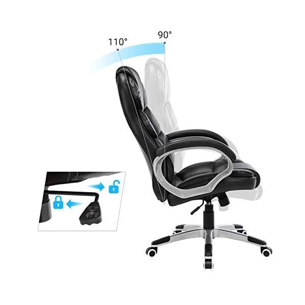 SONGMICS Chaise fauteuil de bureau hauteur réglable PU OBG24B