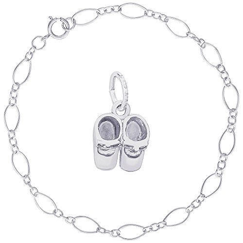 - Rembrandt Charms Sterling Silver Baby Booties Charm on a Figaro Link Bracelet, 8