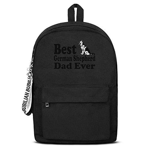 Best German Ghepherd Dad Dog Lover Women Men Water Resistant Black Canvas School Backpack Laptop Backpack