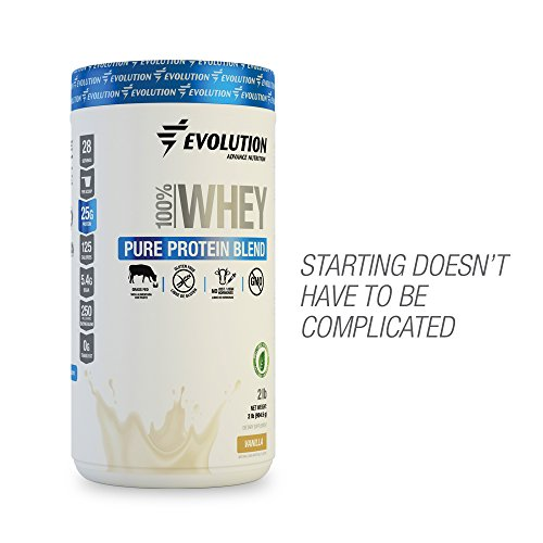 EVOLUTION Pure Whey Protein Isolate Blend - For Men and Women, Beginners or Active Lifestyle - 100% Grass Fed - GMO, Hormones and Gluten Free. 28 Servings - Vanilla Flavored - Sweetened with Stevia